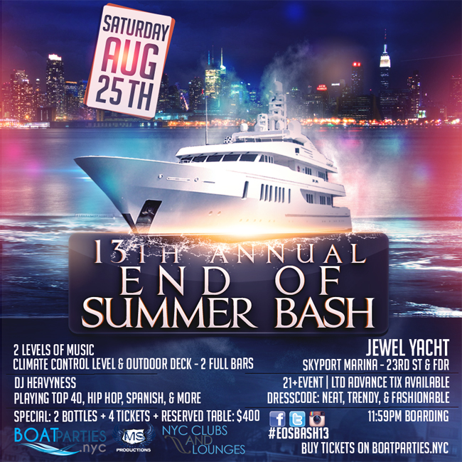 13th Annual End of Summer Yacht Party - Boat Parties NYC